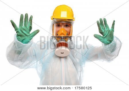 Female activist in protective suit for bio-hazard on white background.