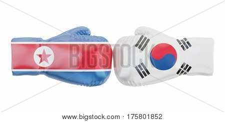 Boxing gloves with South Korea and North Korea flags. Governments conflict concept 3D rendering