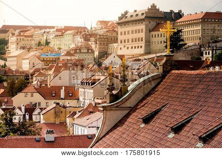 Rooftop view over Prague from the St. Nicholas Church.