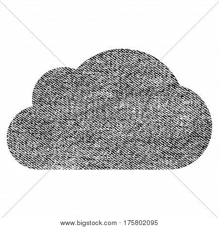 Cloud vector textured icon for overlay watermark stamps. Black jeans fabric vectorized texture. Symbol with unclean design. Black ink rubber seal stamp with fiber textile structure.