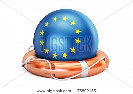 Lifebelt with EU flag safe help and protect concept. 3D rendering