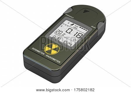 radiation dosimeter closeup 3D rendering isolated on white background