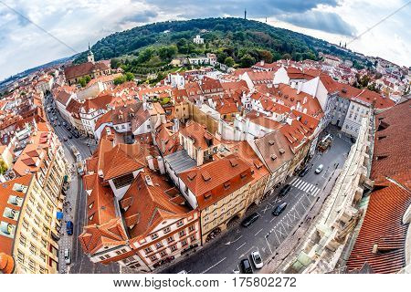 Panoramic rooftop view over Prague Czech Republic