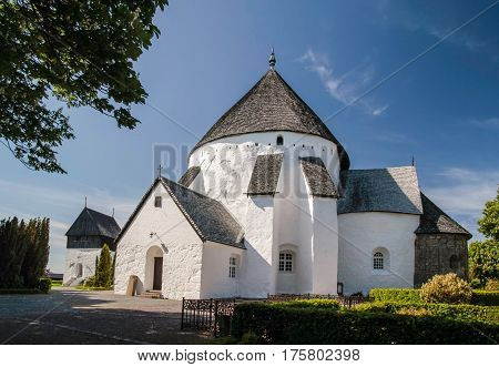The church Osterlars Kirke on Bornholm Denmark