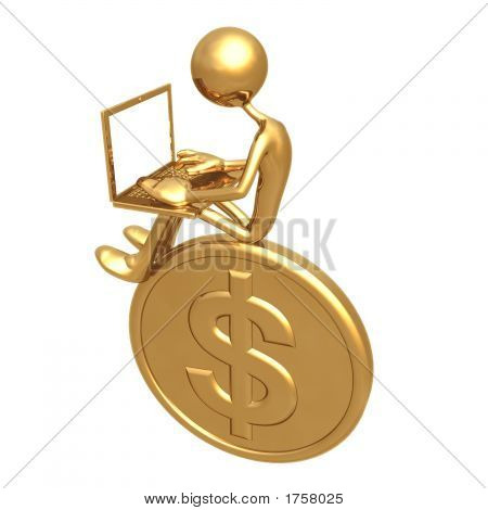 Online Banking Investment Concept Sitting On Large Golden Dollar Coin
