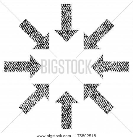 Collapse Arrows vector textured icon for overlay watermark stamps. Black jeans fabric vectorized texture. Symbol with dust design. Black ink rubber seal stamp with fiber textile structure.
