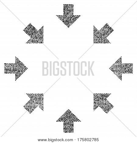 Compact Arrows vector textured icon for overlay watermark stamps. Black jeans fabric vectorized texture. Symbol with dust design. Black ink rubber seal stamp with fiber textile structure.