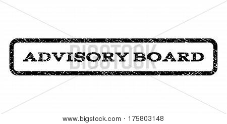 Advisory Board watermark stamp. Text caption inside rounded rectangle frame with grunge design style. Rubber seal stamp with dirty texture. Vector black ink imprint on a white background.