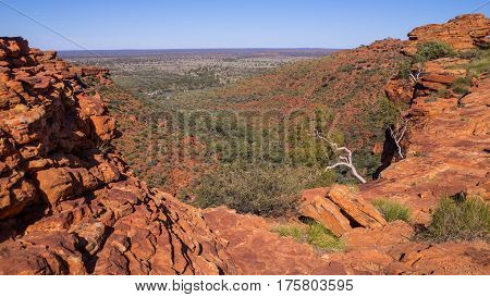 Orange rocks of remote Kings Canyon, Outback, Australia
