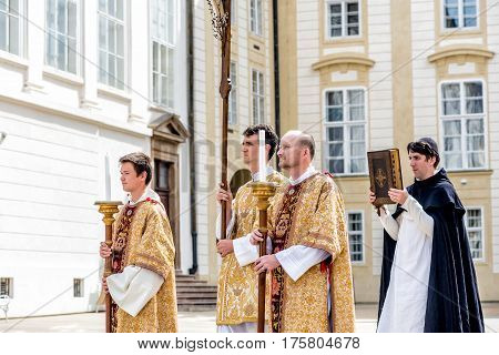PRAGUE CZECH REPUBLIC - SEPTEMBER 04 2016: Procession at re-enactment of the Coronation of Charles IV in Prague Castle