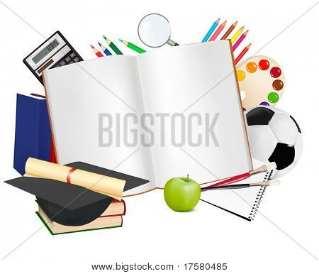 Back to school. Notepad with school supplies. Vector.