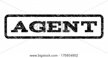 Agent watermark stamp. Text tag inside rounded rectangle frame with grunge design style. Rubber seal stamp with dust texture. Vector black ink imprint on a white background.
