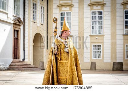 PRAGUE CZECH REPUBLIC - SEPTEMBER 04 2016: Celebration of the 700th anniversary of King Charles IV's coronation