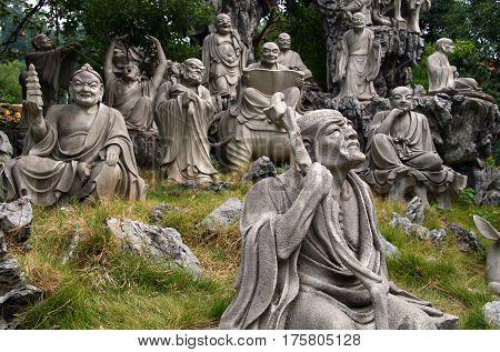 Heng Shan, Hunan, China - Oct 15, 2009: Monument Of 18 (16) Arhats In The Garden Behind Nanyue Damia