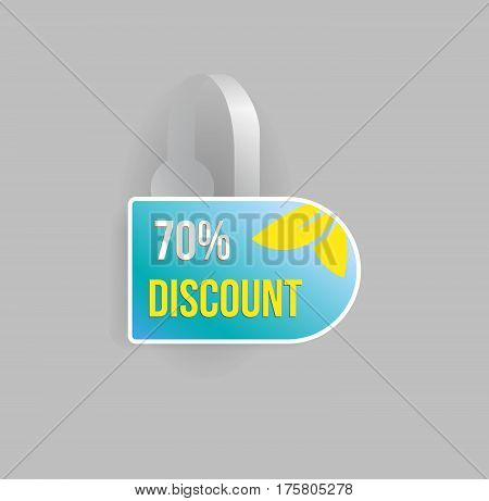Vector blue wobbler mockup with transparent strip and grey background. Sale message template for your hanging shelf tag design.