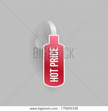 Vector red bottle shape wobbler mockup with transparent strip and grey background. Sale message template for your hanging shelf tag design.