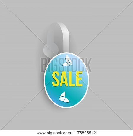 Vector blue oval shape wobbler mockup with transparent strip and grey background. Sale message template for your hanging shelf tag design.