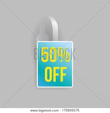 Vector blue rectangle shape wobbler mockup with transparent strip and grey background. Sale message template for your hanging shelf tag design.