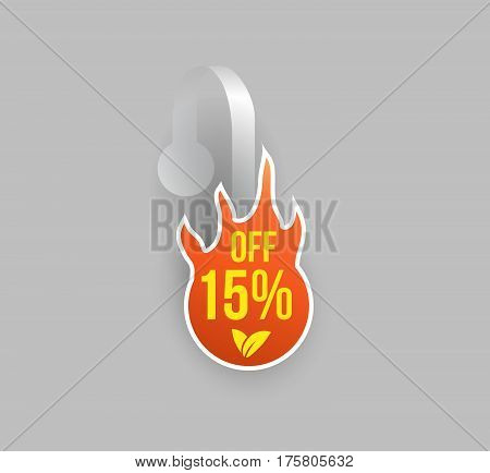 Vector orange fire shape wobbler mockup with transparent strip and grey background. Sale message template for your hanging shelf tag design.
