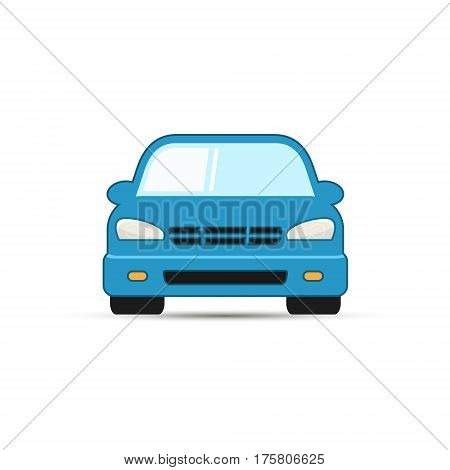 Car vector illustration front view. Simple car icon.