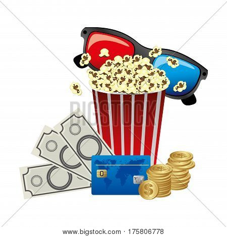 pop corn, 3d glasses and money, credit card icon, vector illustraction