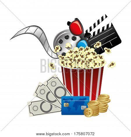 pop corn, clipart movie and money icon, vector illustraction design