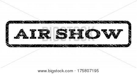 Air Show watermark stamp. Text tag inside rounded rectangle frame with grunge design style. Rubber seal stamp with scratched texture. Vector black ink imprint on a white background.