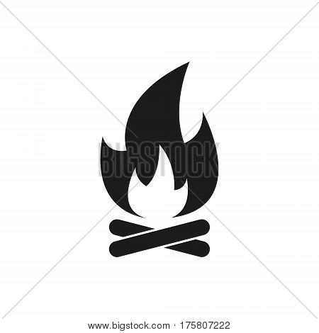 Campfire with firewood. Vector simple fire icon.