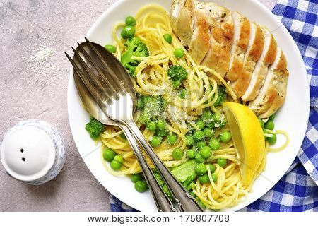 Spaghetti Primavera With Grilled Chicken.top View.
