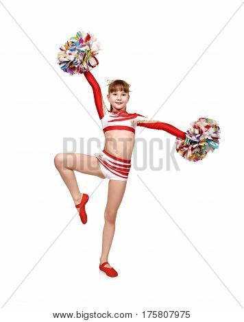 Cheerleader Girl With Pompoms Dances