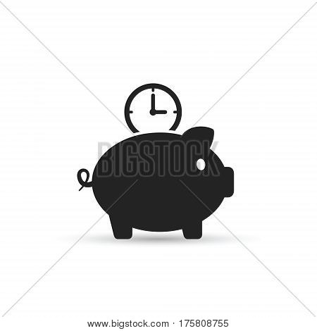 Time is money piggy bank icon. Save time vector isolated illustration.