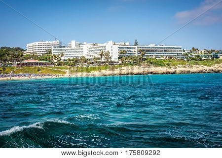 AYIA NAPA CYPRUS - JULY 16 2016: Coastal line of Ayia Napa with beach and hotels.