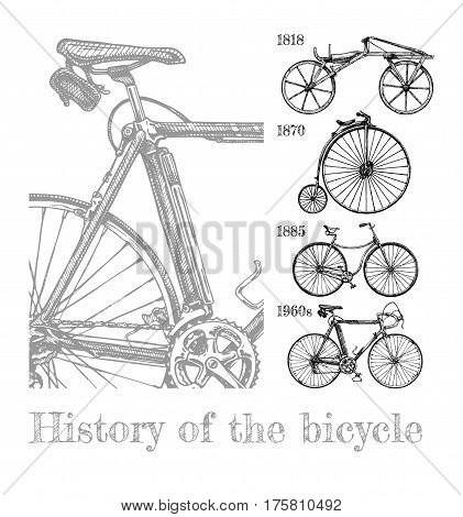 Vector hand drawn illustration of bicycle evolution set in ink hand drawn style. Types of cycles: draisine penny-farthing safety bicycle and modern racing bike.