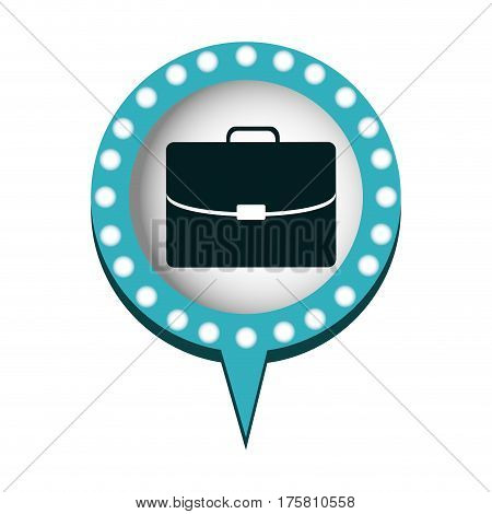 executive briefcase and circular speech with blue contour with dotted and tail vector illustration