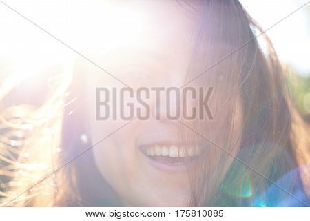 Happy Woman Portrait In Sunny Day