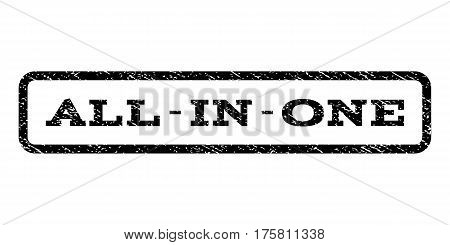 All-In-One watermark stamp. Text tag inside rounded rectangle frame with grunge design style. Rubber seal stamp with dirty texture. Vector black ink imprint on a white background.
