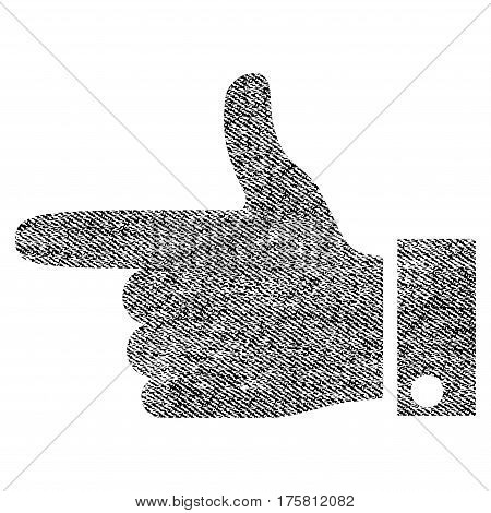 Hand Pointer Left vector textured icon for overlay watermark stamps. Black jeans fabric vectorized texture. Symbol with unclean design. Black ink rubber seal stamp with fiber textile structure.