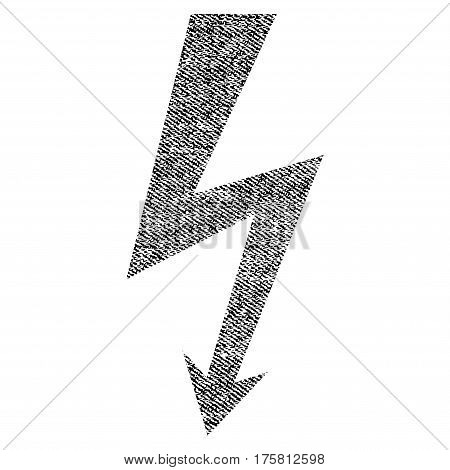 High Voltage vector textured icon for overlay watermark stamps. Black jeans fabric vectorized texture. Symbol with unclean design. Black ink rubber seal stamp with fiber textile structure.