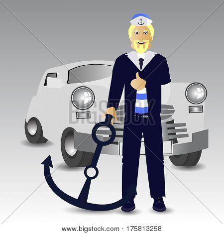 Retro Car. Driver Captain Anchor Stop