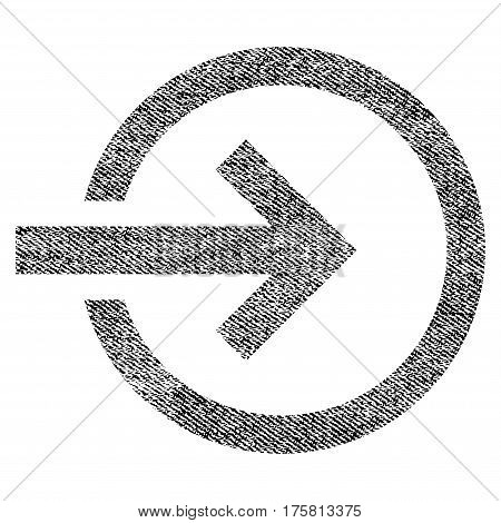 Import vector textured icon for overlay watermark stamps. Black jeans fabric vectorized texture. Symbol with scratched design. Black ink rubber seal stamp with fiber textile structure.