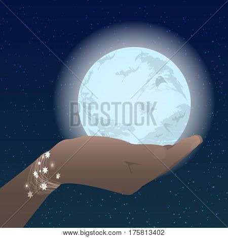 Hand Holding The Moon On The Stars Sky
