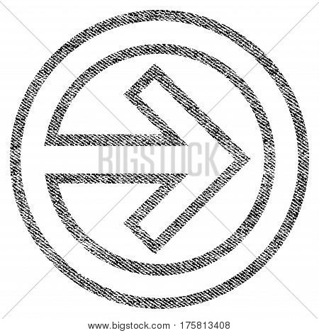Import vector textured icon for overlay watermark stamps. Black jeans fabric vectorized texture. Symbol with unclean design. Black ink rubber seal stamp with fiber textile structure.