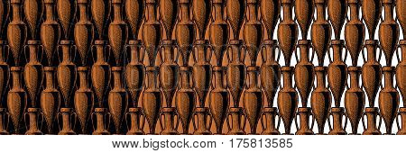 vector seamless pattern with ancient amphora. illustration background in black-figure pottery and red-figure vase painting style.
