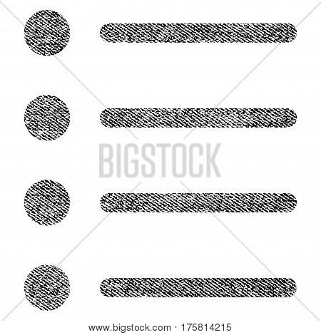 Items vector textured icon for overlay watermark stamps. Black jeans fabric vectorized texture. Symbol with dirty design. Black ink rubber seal stamp with fiber textile structure.