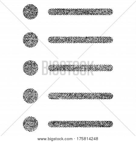 Items vector textured icon for overlay watermark stamps. Black jeans fabric vectorized texture. Symbol with unclean design. Black ink rubber seal stamp with fiber textile structure.