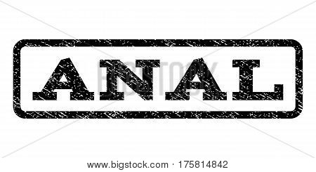 Anal watermark stamp. Text caption inside rounded rectangle frame with grunge design style. Rubber seal stamp with scratched texture. Vector black ink imprint on a white background.