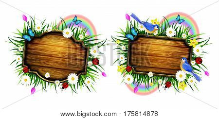 Spring wooden board on lawn with flowers blue butterflyes and ladybug bluebirds vector set