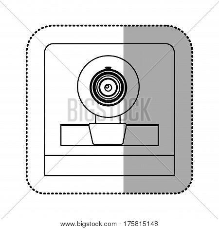 monochrome contour sticker of webcam vector illustration