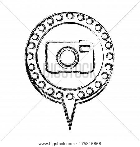 monochrome sketch with analog camera and circular speech with contour dotted and tail vector illustration