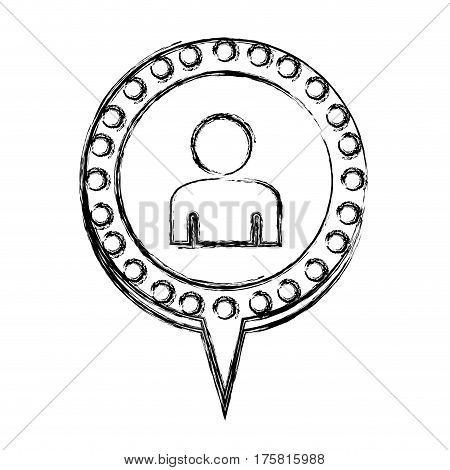 monochrome sketch with half body man and circular speech with contour dotted and tail vector illustration